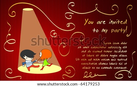cute party invitation - stock vector