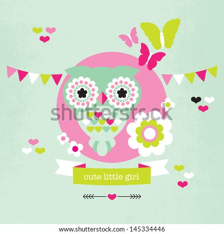 Cute pastel owl and butterfly illustration baby girl birth announcement card template in vector - stock vector
