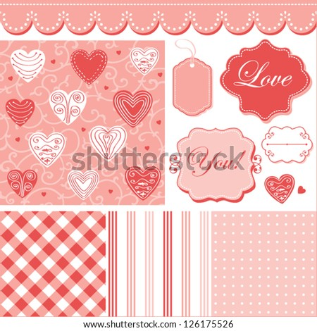 Cute pattern, frames and cute romantic backgrounds