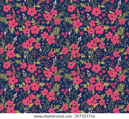 Cute pattern in small flower. Small pink flowers.  Blue background. Seamless floral pattern. - stock vector