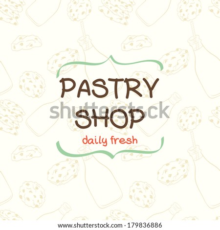 Cute pattern made of hand drawn doodle cartoon chocolate chip cookies and bottle of milk with text box in shape of curved brackets. - stock vector