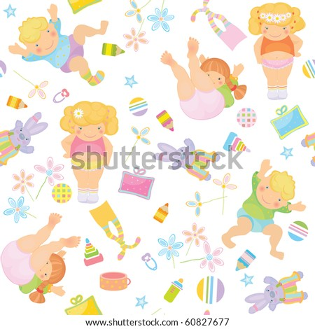 Cute pattern of funny kids. - stock vector