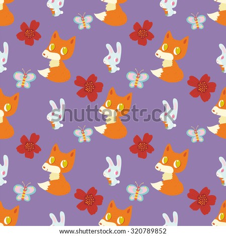 Cute pattern with a small fox and bunny on a purple background.