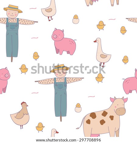 Cute pattern with animals and farm. - stock vector