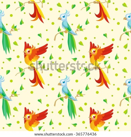 Cute pattern with cartoon parrots - stock vector