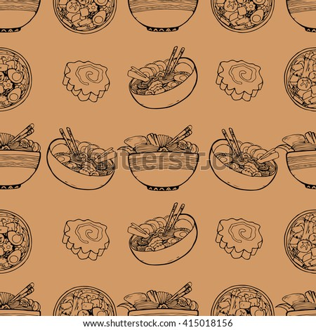 Cute pattern with nabe, ramen and ingredients on sand background