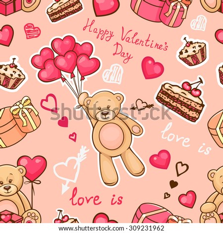 Cute pattern with teddy bear, hearts and balloons for your design - stock vector