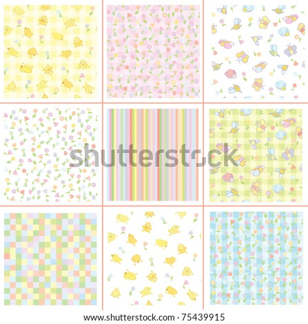 Cute patterns for your design, flora and birds. - stock vector