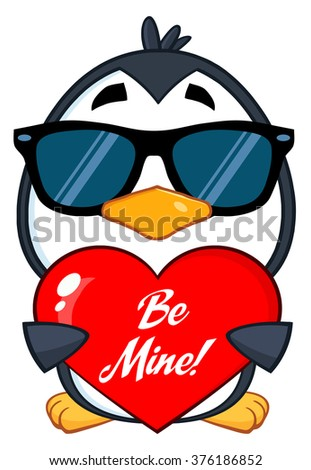 Cute Penguin Cartoon Character  Wearing Sunglasses And Holding A Be Mine Valentine Heart. Vector Illustration Isolated On White - stock vector