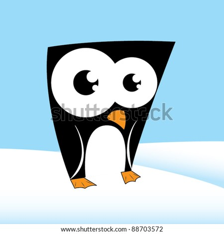 Cute penguin character - stock vector