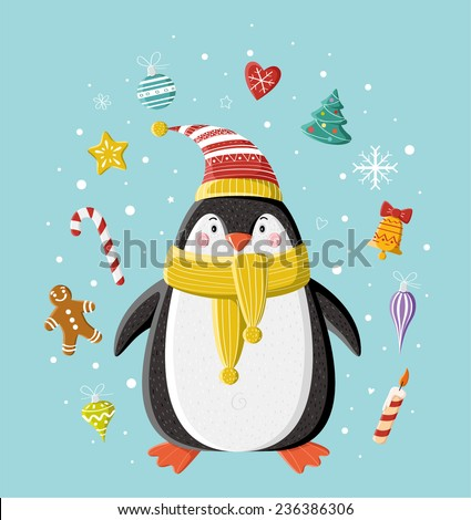Cute penguin in striped knitted cap with Christmas toy (heart, bell, balls, candle, gingerbread man, Christmas tree) under the snow. Picture for prints, Christmas cards, decoration, covers, poster.  - stock vector