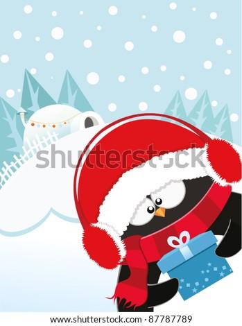 Cute Penguin's Christmas Gift - stock vector