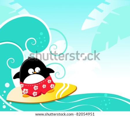 Cute Penguin Surfing With Joy - stock vector