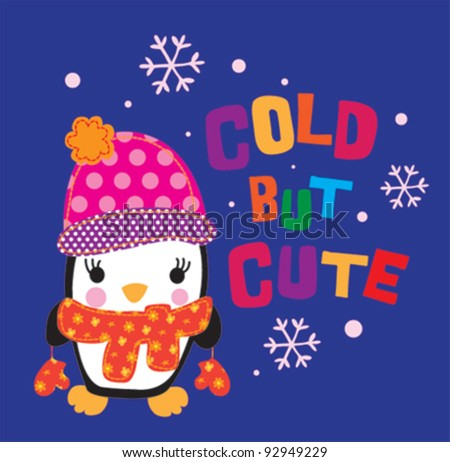 cute penguin / T-shirt graphics / cute cartoon characters / cute graphics for kids / Book illustrations - stock vector