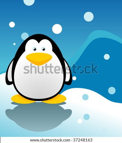cute Penguin vector with snow background - stock vector