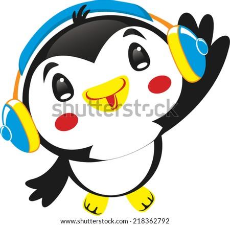 Cute penguin with blue headphones vector.  - stock vector