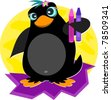 Cute Penguin with Crayons - stock vector