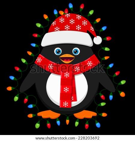 Cute penguin with light bulbs on black background - stock vector