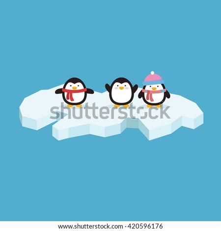 Cute penguin with variation style and position in iceberg - stock vector