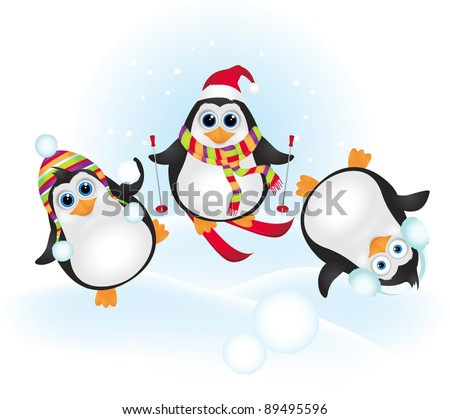 Cute penguins celebrating Christmas - stock vector