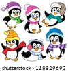 Cute penguins collection 3 - vector illustration. - stock vector