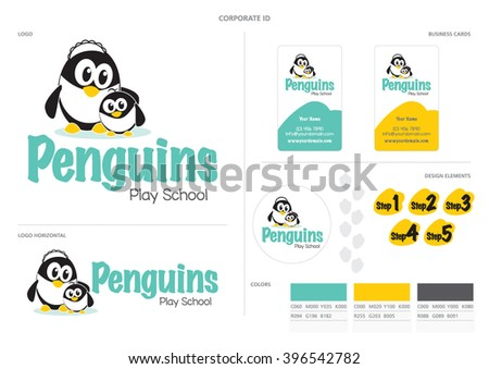 Cute penguins cuddling corporate identity logo for Play School kindergarten business. Logo design, business card design and design elements and color swatches for use in brochure or website designs.