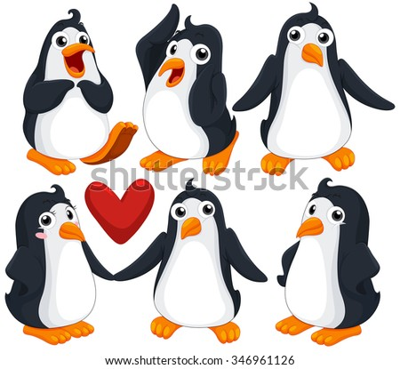 Cute penguins in different poses illustration