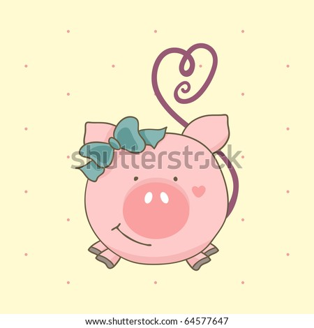 cute pig - stock vector
