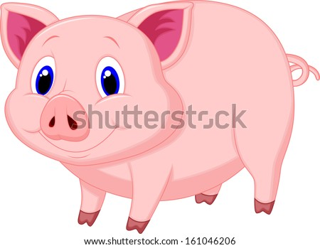 Cute pig cartoon - stock vector