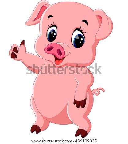 Cute pig cartoon posing stock vector 436109035 shutterstock - Pig wallpaper cartoon pig ...