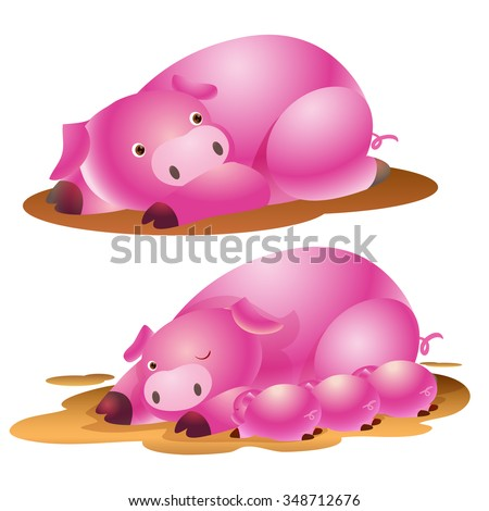cute pig family and baby suckling - stock vector
