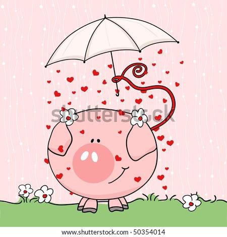 cute pig in rain - stock vector