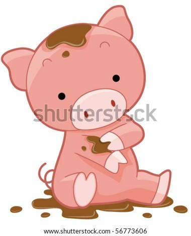 Cute Pig - Vector - stock vector