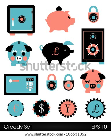 Cute piggy banks, safes and locks - stock vector