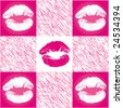 Cute pink and white checkered lip pattern - stock vector