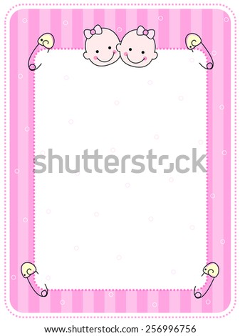 Cute pink baby girl arrival / party invitation / announcement card with two happy baby faces  - stock vector
