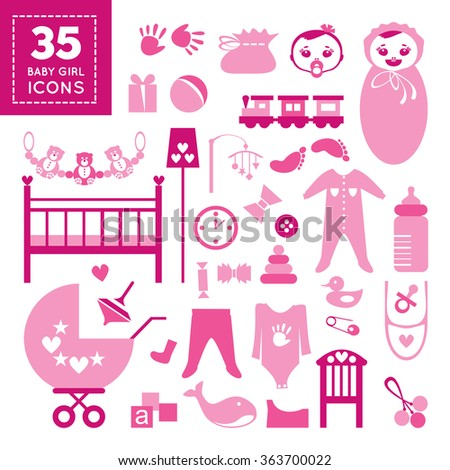 Cute pink icons of babies thing, toys and furniture in flat design. Cool childish accessoires. Items  easy to edit and ready for use. Editable vector design illustration. Set of toddler girl elements  - stock vector