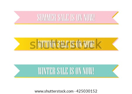 Cute pink, mint green and gold seasonal sale ribbon, banners, tags, label isolated on white background. - stock vector