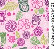 Cute pink owl background pattern in vector - stock vector