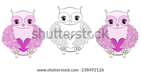 Cute pink owl with heart.(vector,eps.8) - stock vector