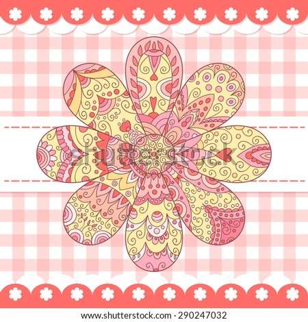 Cute pink photo frame. Baby shower card. Scrapbook elements. Vector cute illustration with flower . Happy birthday card. - stock vector