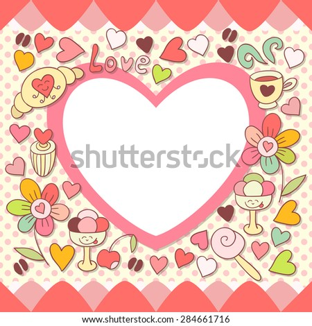 Cute pink photo frame. Baby shower card. Scrapbook elements. Vector cute illustration with flowers, sweets, icecream, coffee and hearts . Happy birthday card. - stock vector