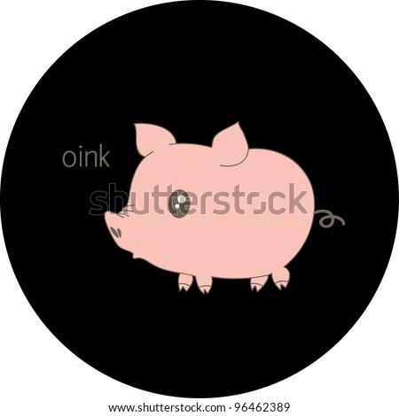 Cute pink piglet in a circle - stock vector