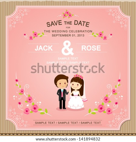 Cute Pink rose wedding invitation card template vector/illustration - stock vector