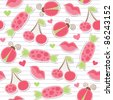 cute pink seamless pattern with cherries, ladybirds, lips and candies - stock vector