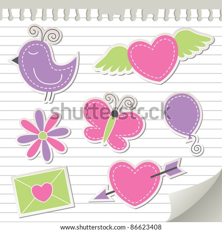 cute pink stickers set on realistic paper - stock vector