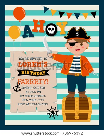 Cute pirate cartoon stripes background party stock vector 736976392 cute pirate cartoon with stripes background for party invitation card template stopboris Image collections