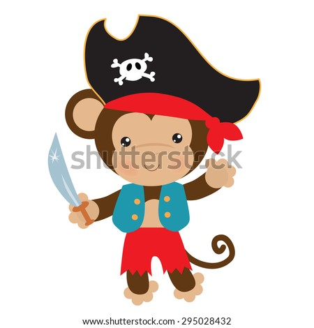 Cute pirate monkey vector illustration