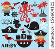 cute pirate objects collection. vector illustration - stock vector