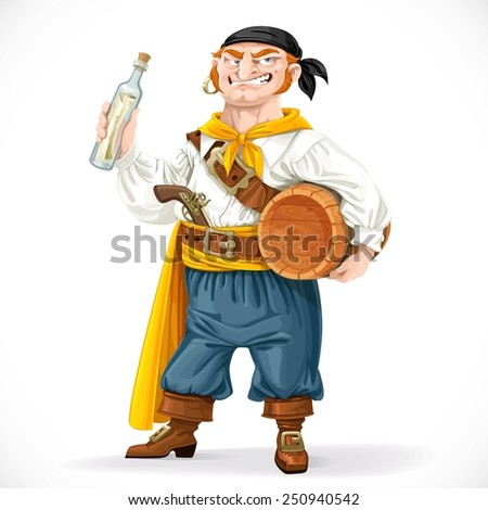 Cute pirate with a barrel of rum and a bottle with a letter isolated on a white background - stock vector